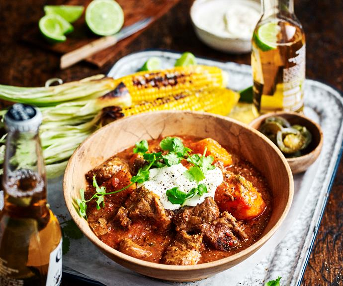 """**[Tex-Mex beef and sweet potato stew](https://www.womensweeklyfood.com.au/recipes/tex-mex-beef-stew-32468