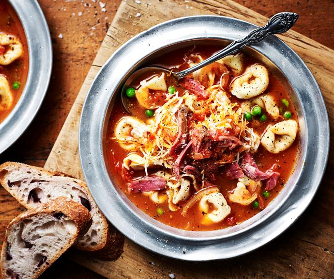"**[Ham and cheese tortellini broth](https://www.womensweeklyfood.com.au/recipes/tortellini-broth-32470 target=""_blank"")**  A warming winter meal."