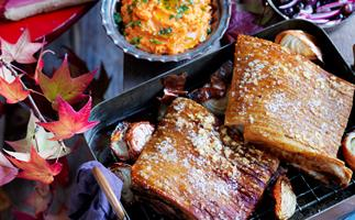 Slow-cooked pork belly with crushed sweet potato