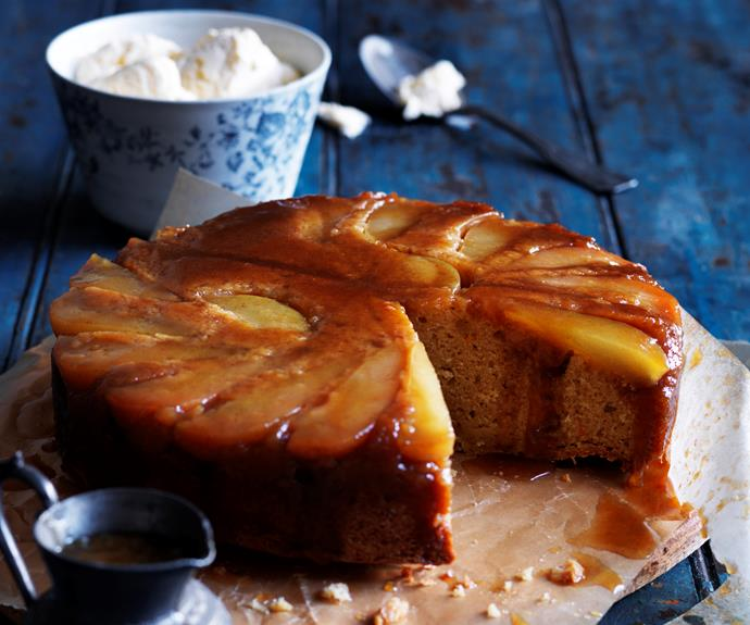 """**[Pear and ginger upside-down cake](https://www.womensweeklyfood.com.au/recipes/pear-and-ginger-upside-down-cake-9122