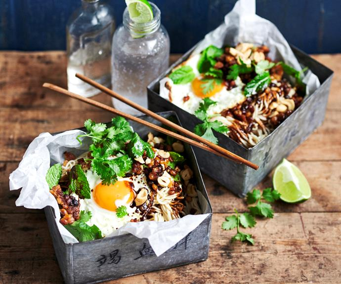 """**[Yum-yum dan dan noodles](https://www.womensweeklyfood.com.au/recipes/dan-dan-noodles-32483 target=""""_blank"""")**  These iconic spicy noodles are a flavoured with sichuan peppercorns, black vinegar and dark soy for a rich and intense taste you will love."""