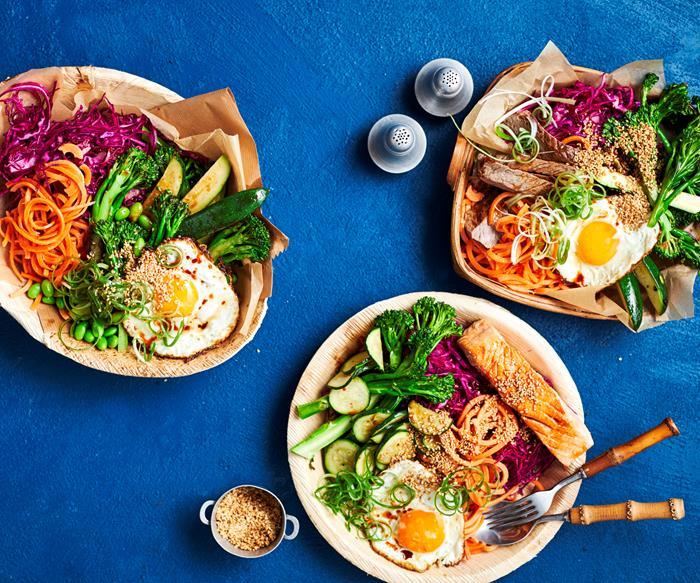 Rainbow bibimbap bowls