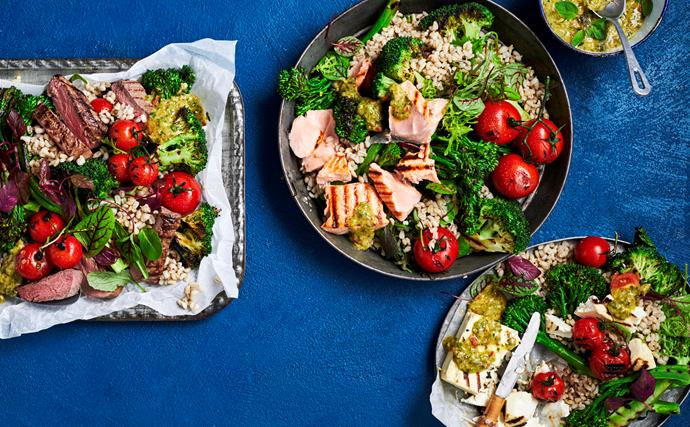 Grilled broccoli and barley salad