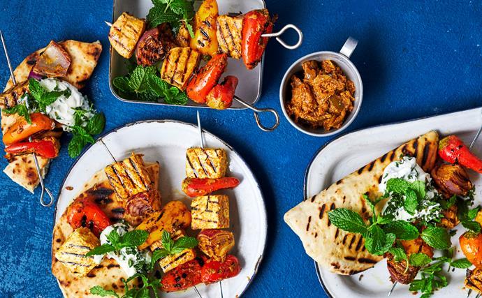 Chicken, salmon or paneer tikka kebabs