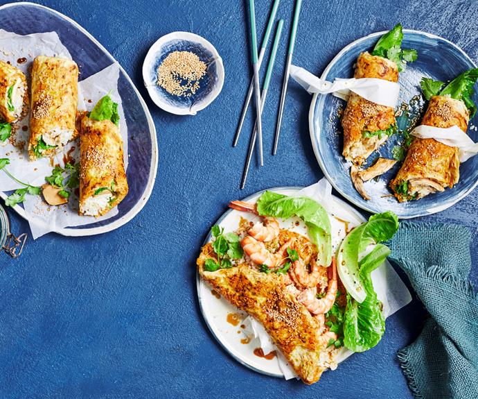 """**[Japanese omelette wraps](https://www.womensweeklyfood.com.au/recipes/japanese-omelette-wraps-32498 target=""""_blank"""")**  Japanese-marinated protein of your choice - chicken, tofu or prawn - wrapped up with rice, lettuce and sweet potato inside an egg omelette."""