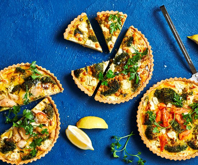 """Twist this roasted [broccoli and goats cheese tart](https://www.womensweeklyfood.com.au/recipes/broccoli-goat-cheese-tart-32501