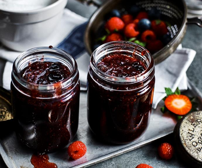 """**[Mixed berry jam](https://www.womensweeklyfood.com.au/recipes/mixed-berry-jam-14527