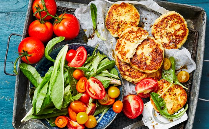 Ricotta fritters with tomato salad