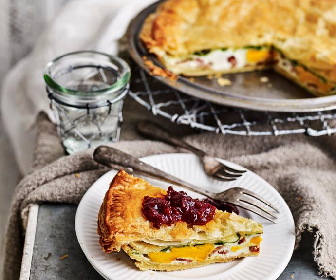 """**[Egg and bacon pie](https://www.womensweeklyfood.com.au/recipes/recipes/egg-and-bacon-pie-10184 target=""""_blank"""")**   Egg plus bacon wrapped in flaky pastry = comfort food heaven. Great for a quick and easy dinner but perfectly acceptable for breakfast too."""