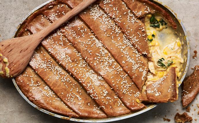 Smoky chicken and corn pie
