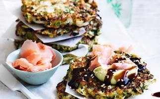 Okonomiyaki with avocado cream