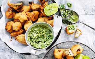 Spiced paneer and eggplant fritters