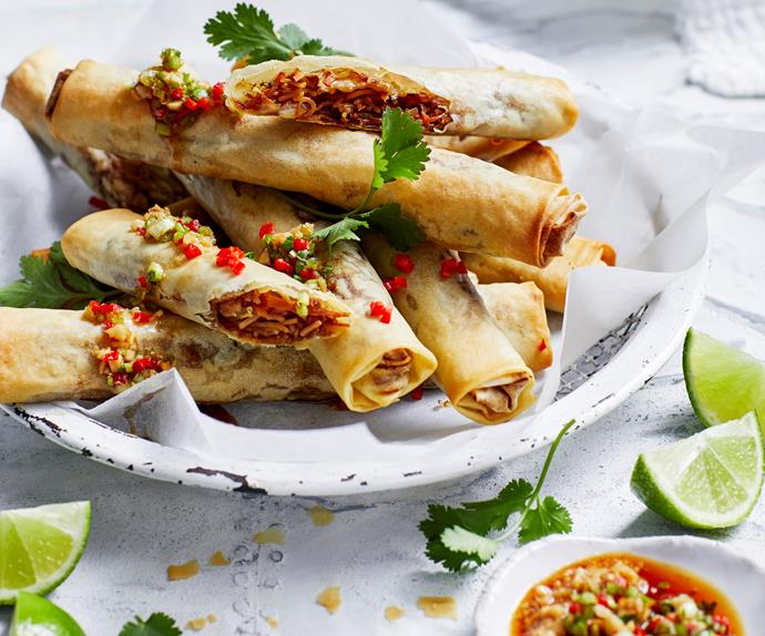Air fryer vegetable spring rolls