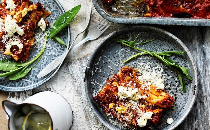 Spinach, cheese and potato cannelloni