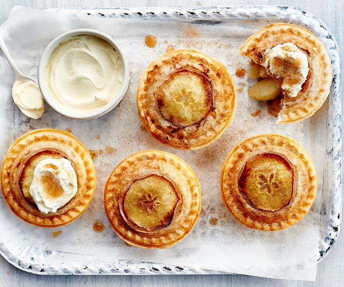 """These sweet [apple pies](https://www.womensweeklyfood.com.au/recipes/pie-maker-apple-pies-32572 target=""""_blank"""") are as easy as pie to make."""