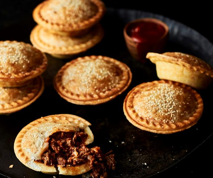 """**[Aussie meat pies](https://www.womensweeklyfood.com.au/recipes/pie-maker-meat-pies-32575 target=""""_blank"""")**  A simple dinner made in your new favourite appliance."""