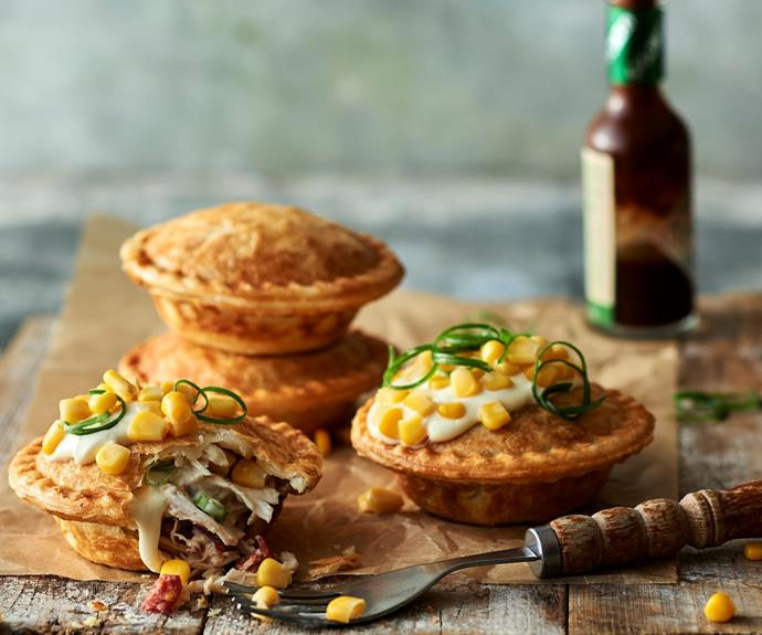 """**[Smoky chicken and corn pies](https://www.womensweeklyfood.com.au/recipes/pie-maker-chicken-corn-pie-32576 target=""""_blank"""")**  Ready in no time!"""