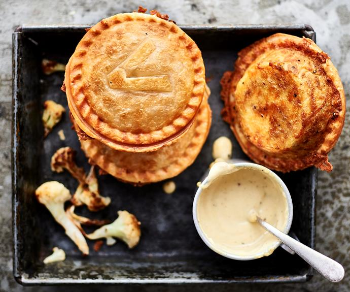 """[Vegan cauliflower cheeze pies](https://www.womensweeklyfood.com.au/recipes/pie-maker-vegan-cauliflower-cheeze-32578 target=""""_blank"""")  Veg out with one of these easy pies."""