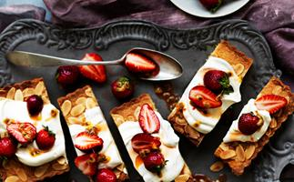 Strawberry and passionfruit frangipane cake