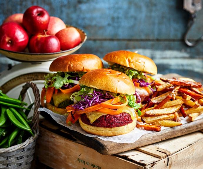 """**[Vegie burger two ways](https://www.womensweeklyfood.com.au/recipes/vegie-burgers-two-ways-32621 target=""""_blank"""")**  Create these nutritious chickpea-based vegie burger with a beetroot and a broccoli patty version. Mix and match or have one of each."""