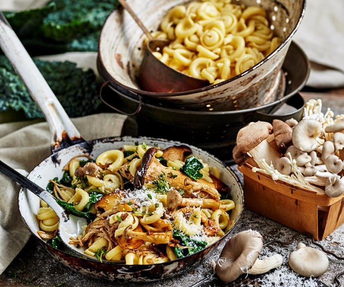 "This [mushroom orecchiette with crunchy gremolata crumbs](https://www.womensweeklyfood.com.au/recipes/mushroom-orecchiette-31951 target=""_blank"")  is a rich, yet simple, weeknight pasta."