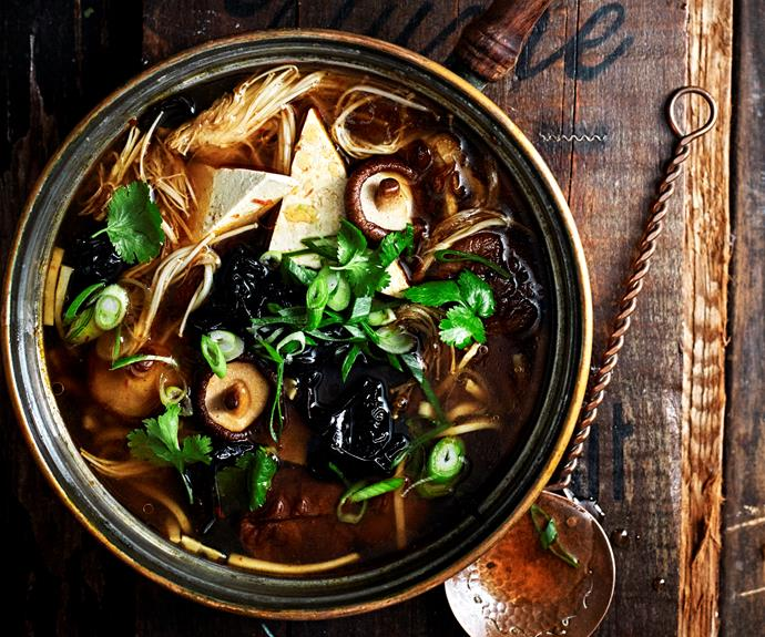 """**[Mushroom hot & sour soup](https://www.womensweeklyfood.com.au/recipes/hot-sour-mushroom-soup-32623 target=""""_blank"""")**  Hot and sour soup is a Chinese soup that's savoury, spicy and tangy."""