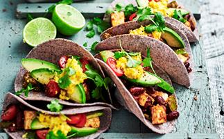 Paneer and bean tacos with creamed corn