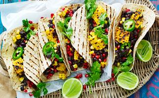 Black bean and harissa barbecued corn tortillas