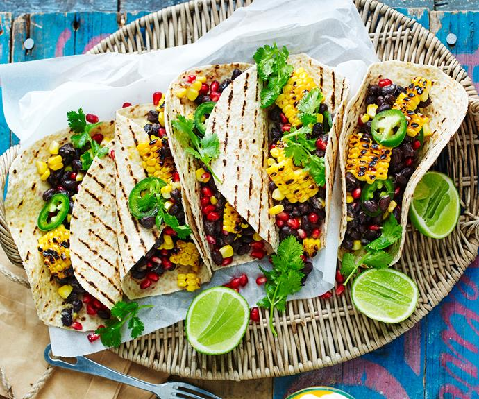 """**[Black bean and harissa barbecued corn tortillas](https://www.womensweeklyfood.com.au/recipes/black-bean-harissa-barbecued-corn-tortillas-32645