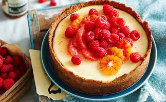 Orange labne cheesecake with ruby fruit salad