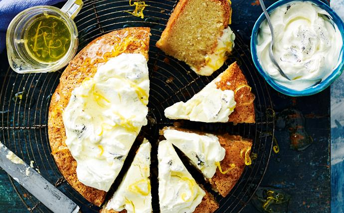 Cardamom and lemon cake with vanilla labne & lemon syrup