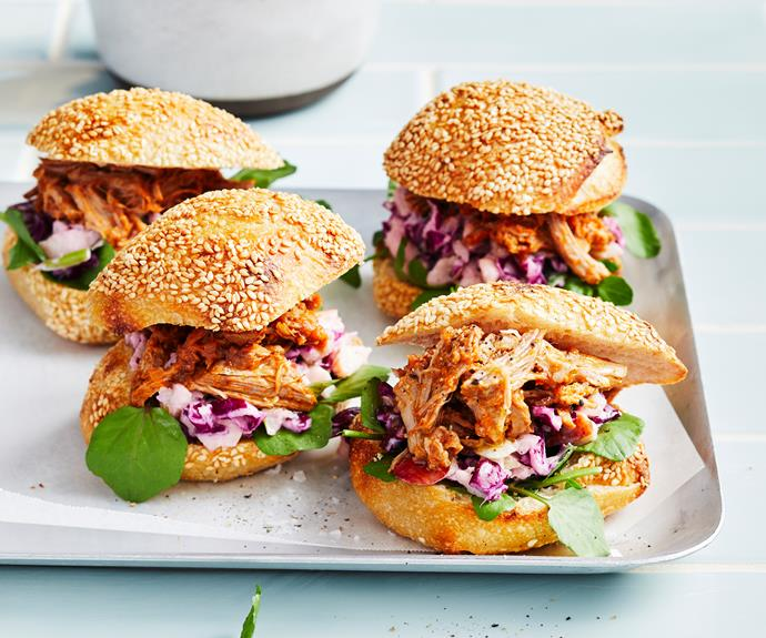 """**[Chipotle maple pulled pork burgers](https://www.womensweeklyfood.com.au/recipes/chipotle-maple-pulled-pork-burgers-32669 target=""""_blank"""")**   Pulled pork burgers with apple slaw just got a whole lot easier. Now you can create this classic American favourite in your Thermomix."""