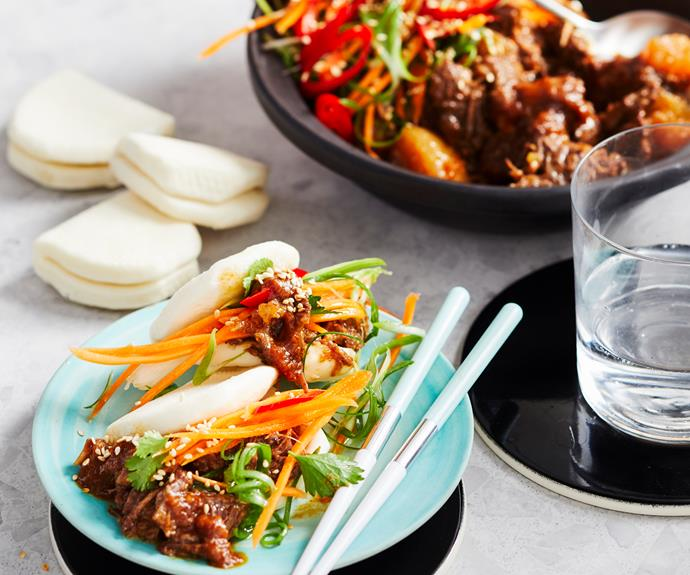 """**[Korean short rib bao](https://www.womensweeklyfood.com.au/recipes/korean-short-rib-bao-32672 target=""""_blank"""")**  Tender short ribs in a rich and fragrant Korean-style sauce served with fresh pickled carrot and onions on soft steamed bao buns."""