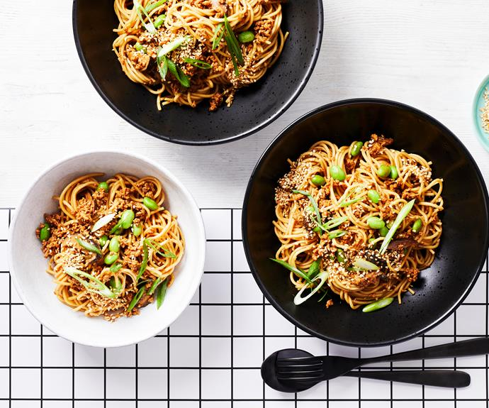 """**[Spaghetti ramenaise](https://www.womensweeklyfood.com.au/recipes/spaghetti-ramenaise-32675 target=""""_blank"""")**  Pork mince flavoured with miso paste, shiitake mushroom and ginger and served with ramen noodles for a Japanese twist on the classic family meal."""