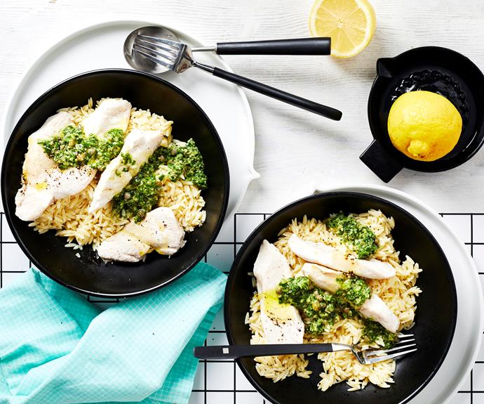 """**[Risoni with chicken and salsa verde](https://www.womensweeklyfood.com.au/recipes/risoni-with-chicken-and-salsa-verde-32676 target=""""_blank"""")**  An all-in-one dish of steamed chicken breast with a vibrant salsa verde that adds fresh and zesty flavour and served with risoni pasta."""