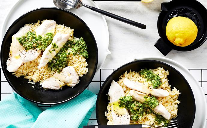 Thermomix risoni with chicken and salsa verde