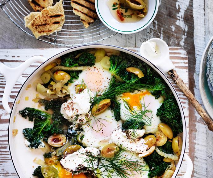 """**[Green shakshuka](https://www.womensweeklyfood.com.au/recipes/green-shakshuka-32689