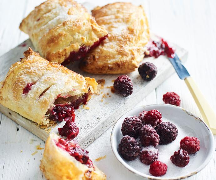 """**[Apple, blackberry and marzipan hand pies](https://www.womensweeklyfood.com.au/recipes/apple-blackberry-hand-pies-32696