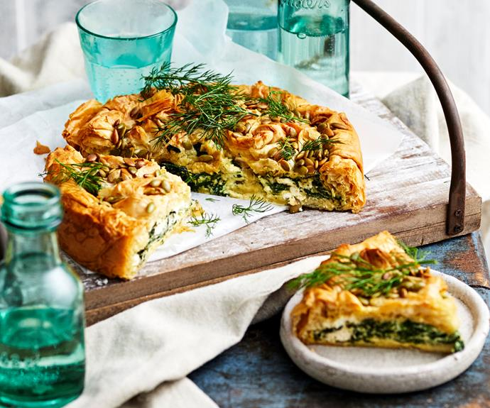 """**[Spinach and fetta pie](https://www.womensweeklyfood.com.au/recipes/spinach-fetta-pie-32703