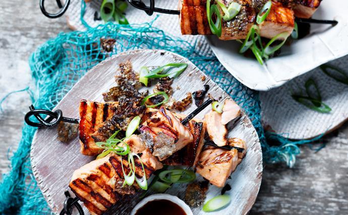 Salmon yakitori with sweet rice miso sauce