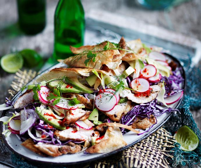 """**[Spiced-chicken and crispy tortilla salad](https://www.womensweeklyfood.com.au/recipes/chicken-tortilla-salad-32715