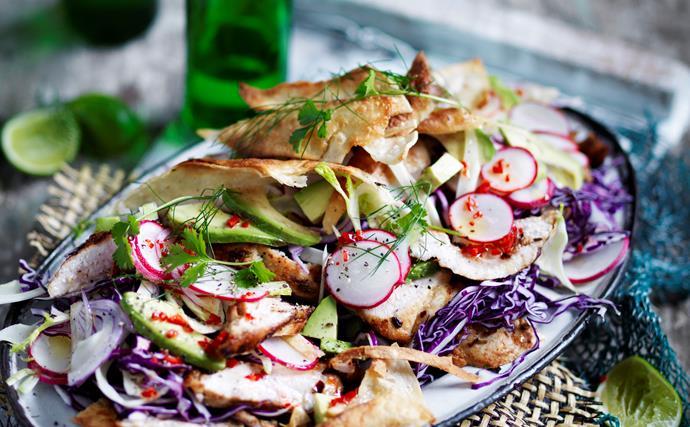 Spiced chicken and crispy tortilla salad