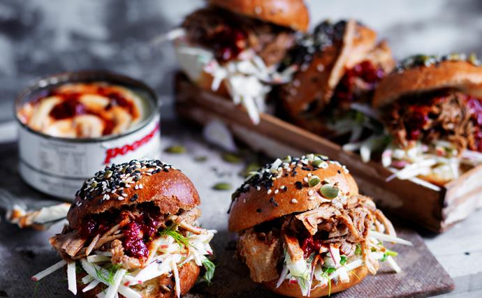 Pulled pork sliders with apple slaw and chipotle mayo