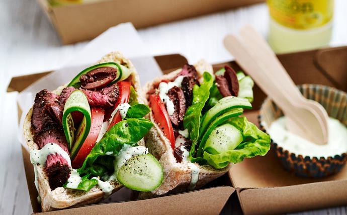 Greek salad lamb pitta pockets