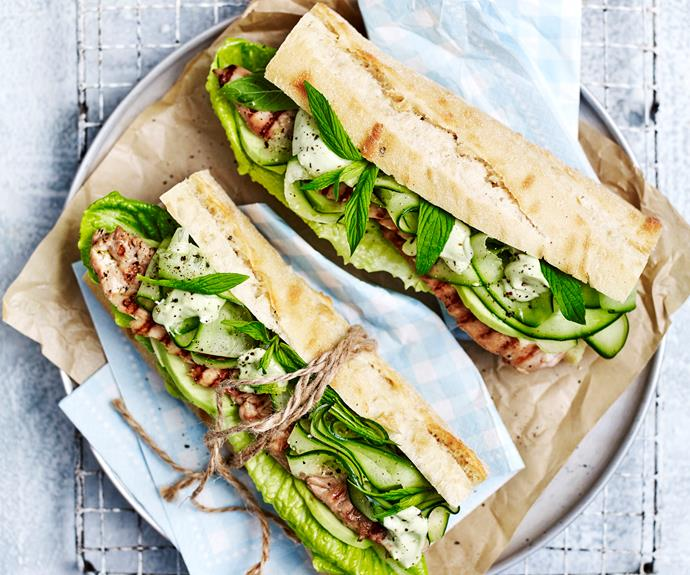 "**[Teriyaki chicken salad rolls](https://www.womensweeklyfood.com.au/recipes/teriyaki-chicken-salad-rolls-32724 target=""_blank"")**"