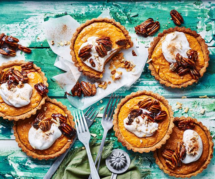 """**[Kumara coconut tarts with pecan toffee](https://www.womensweeklyfood.com.au/recipes/kumara-coconut-tarts-pecan-toffee-32746