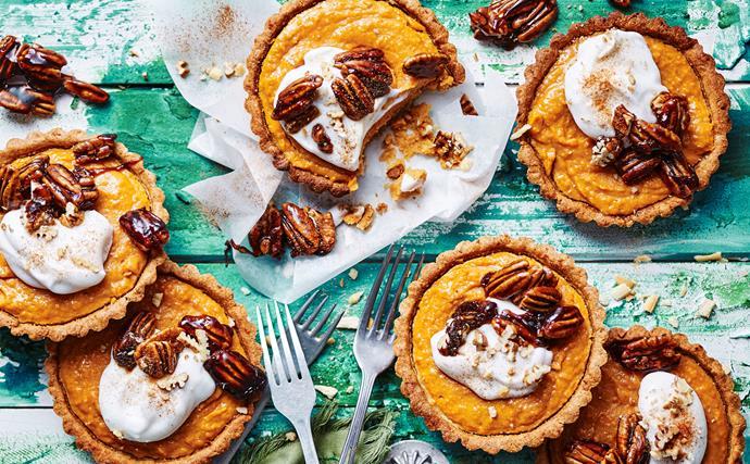 Kumara and coconut tarts with pecan toffee