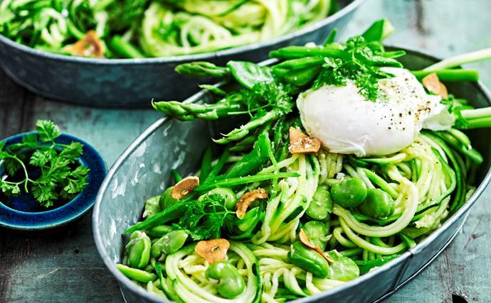 Zucchini primavera with poached eggs