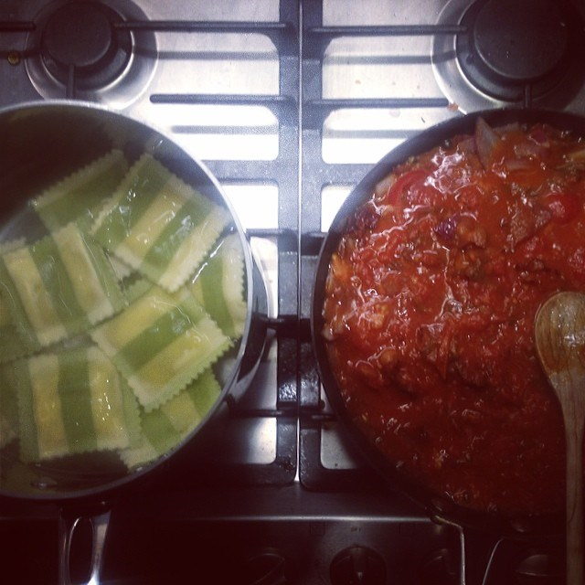 """""""This pasta was outta control!!"""" Robyn said of her spinach and ricotta ravioli with bacon, onion, tomato pasta sauce, truffle oil and Tabasco served with layers of feta cheese and vintage cheddar. Yep, we believe her."""