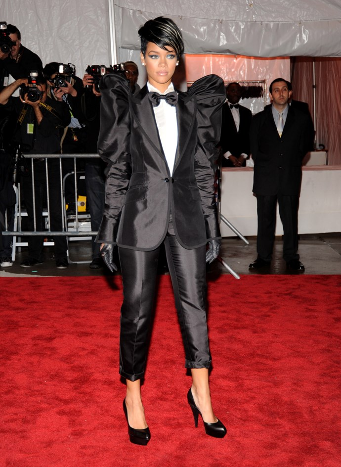 MISS: Her shiny ruched Dolce & Gabbana number (at the Metropolitan Museum of Art Costume Institute Gala in New York) missed the androgynous-cool point of a girl in a tux.